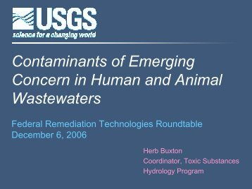 Contaminants of Emerging Concern in Human and Animal ...