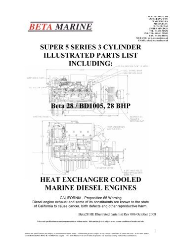 SUPER 5 SERIES 3 CYLINDER ILLUSTRATED ... - Beta Marine