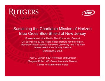 7910 - Center for State Health Policy, Rutgers University