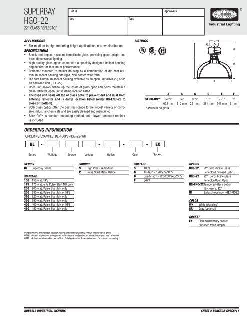 SUPERBAY HGO-22 - Hubbell Industrial Lighting