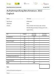 Aufnahmeprüfung Berufsmatura 2012 Englisch - Wirtschaftsschule ...