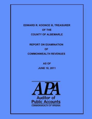 as of June 10, 2011 - Virginia Auditor of Public Accounts