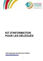KIT D'INFORMATION POUR LES DÉLÉGUÉS - PSI Congress
