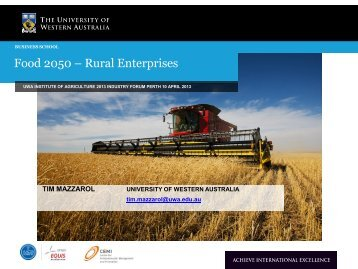 Food 2050 – Rural Enterprises - The UWA Institute of Agriculture