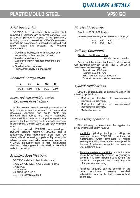 PLASTIC MOULD STEEL VP20 ISO - Villares Metals