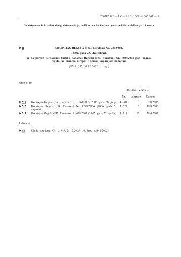 B KOMISIJAS REGULA (EK, Euratom) Nr. 2342/2002 ... - EUR-Lex