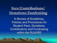 Student Fees, Donations, Contributions, and Fundraising