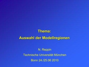 Thema: Auswahl der Modellregionen