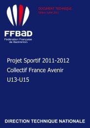 Projet Sportif 2011-2012 Collectif France Avenir U13-U15
