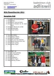 2011-11-07 Ranglisten Plauschturnier 2011 - Badminton Club Adliswil