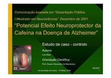 """""""Potencial Efeito Neuroprotector da Cafeína na Doença ... - Socialgest"""