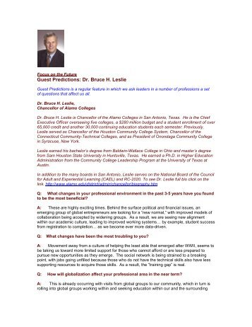 Guest Predictions: Dr. Bruce H. Leslie - The Regis Group Inc