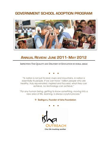 Year 1: 2011-2012 - Isha Outreach