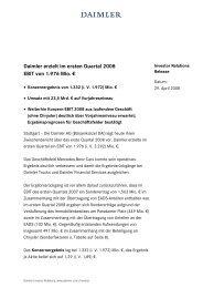 Daimler erzielt im ersten Quartal 2008 EBIT von 1.976 Mio. €