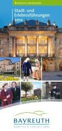 Stadt- und Erlebnisführungen 2012 - Stadt Bayreuth