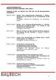 AUSZUG REFERENZLISTE PROJEKTE IM ... - BAUTECH GmbH