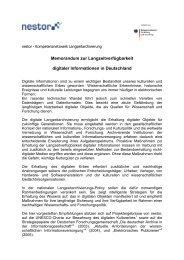 Memorandum zur Langzeitverfügbarkeit digitaler Informationen in ...