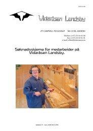 Søknadsskjema for medarbeider på Vidaråsen Landsby.