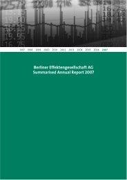 Berliner Effektengesellschaft AG Summarised Annual Report 2007