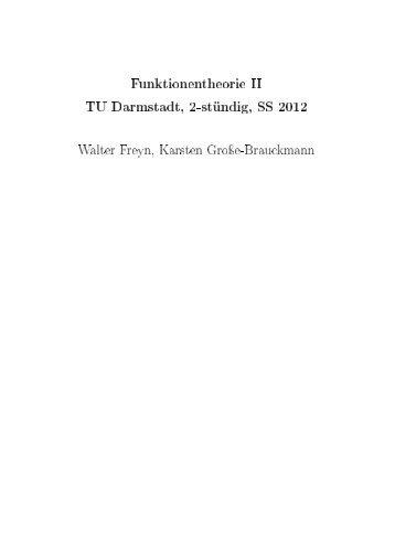 Funktionentheorie II - Fachbereich Mathematik - Technische ...