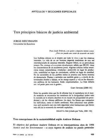 Riechmann, J. – Tres principios básicos de justicia ambiental