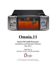 Omnia 11 Manual - Broadcast Bionics