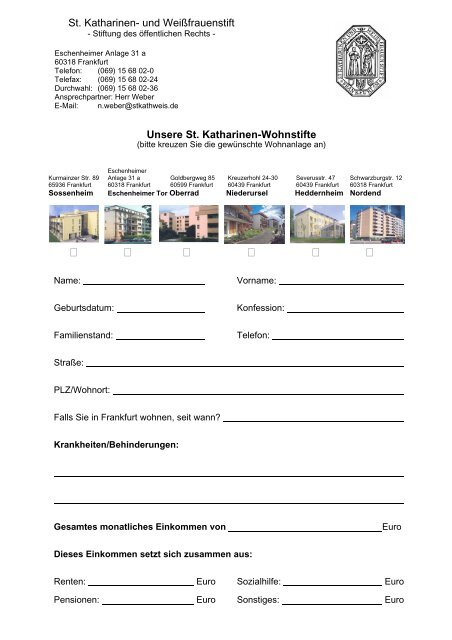 Bewerbung Wohnung St Katharinen
