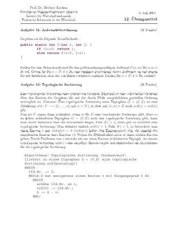 Prof. Dr. Herbert Kuchen 6. Juli 2005 (10 Punkte) Gegeben Sei