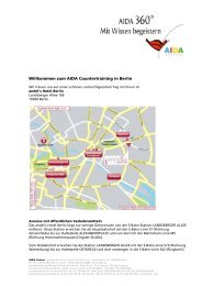 Willkommen zum AIDA Countertraining in Berlin - AIDA Cruises