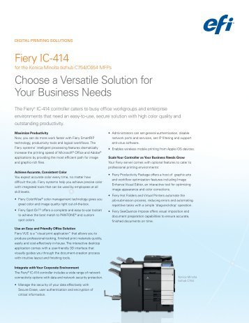 Fiery IC-414 Choose a Versatile Solution for Your Business Needs
