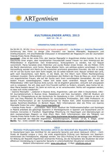 Kulturkalender April 2013 - Embajada de la República Argentina en ...