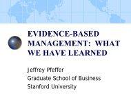 Jeffrey Pfeffer, PhD, Evidence-Based Management - American ...
