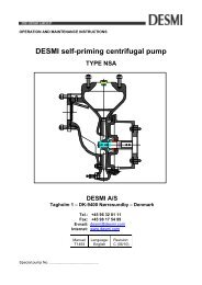 OPERATION AND MAINTENANCE INSTRUCTIONS - Desmi