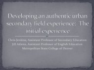 Developing an authentic urban secondary field experience: The ...