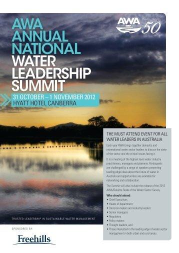 awa annual national water leadership summit - Australian Water ...