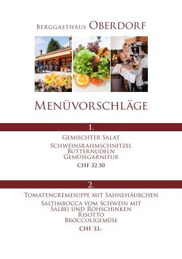 Menüvorschläge Berggasthaus Oberdorf