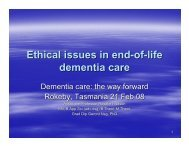 Ethical issues in end-of-life dementia care - Alzheimer's Australia