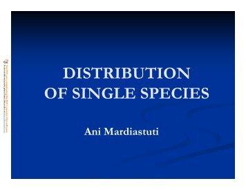 DISTRIBUTION OF SINGLE SPECIES