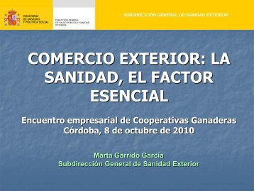 """Ponencia: """"Comercio Exterior. La sanidad, el factor esencial"""""""