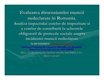 Evaluarea dimensiunilor muncii nedeclarate in Romania. Analiza