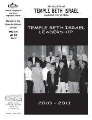 May 2010 - Temple Beth Israel