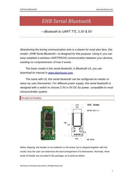 EHB Serial Bluetooth pdf - Elechouse
