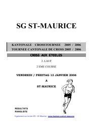 Tournée cantonale de cross - 2ème manche à St-Maurice