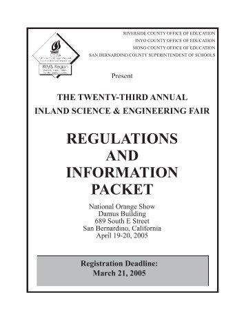 REGULATIONS AND INFORMATION PACKET - Science and ...