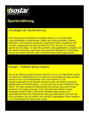 Sporternährung - Lucerne Marathon