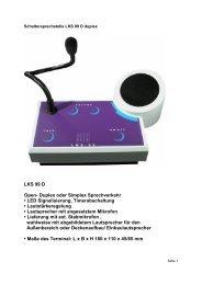 LKS 99 D Open- Duplex oder Simplex Sprechverkehr • LED ...
