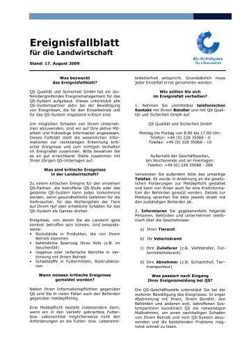 Ereignisfaltblatt für landwirtschaftliche Betriebe - Eichenhof