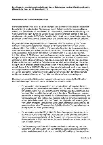 Datenschutz in sozialen Netzwerken Der Düsseldorfer Kreis sieht ...
