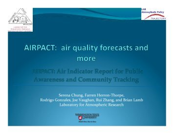 Continuous regional air quality modeling - NW Airquest - WESTAR
