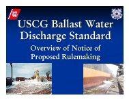 USCG Ballast Water Discharge Standard - Aquatic Nuisance ...